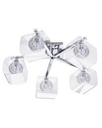 Verona 5 Light Wire Globe with Glass Shade Semi Flush Ceiling Light - Chrome