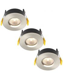 Stanley 3 Pack of Volta Recessed LED Fire Rated Downlighters - Satin Nickel
