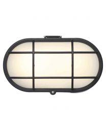 Stanley Vasman Outdoor Oval LED Bulkhead Wall or Ceiling Light - Black