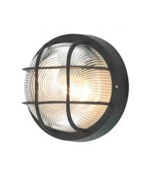 Mole Polycarbonate Round Bulkhead Outdoor Wall Light - Black