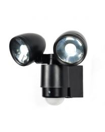 Sirocco 2 Light LED Security Spotlight with PIR Sensor - Black