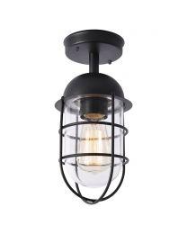 Cari 1 Light Caged Outdoor Lantern - Black