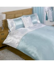 Sakkara Double Bed and Curtain Set - Duck Egg Blue