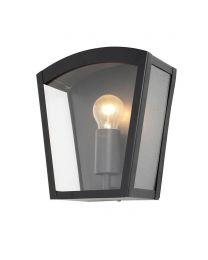 Hamble Outdoor Lantern Curved Wall Light - Black