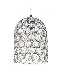 Deena 1 Light Domed Crystal Effect Ceiling Pendant - Black Chrome
