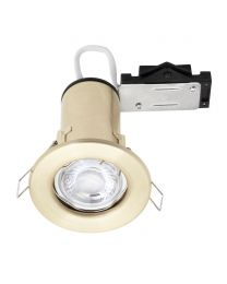 Fixed Fire Rated Cast Recessed GU10 Downlight with LED Bulb - Brushed Brass