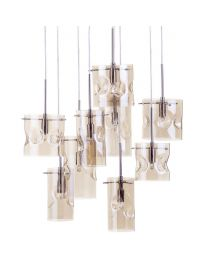 Perla 9 Light Champagne Tinted Glass Ceiling Pendant