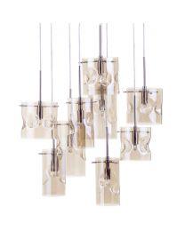 Perla 9 Light Champagne Tinted Glass Ceiling Pendant