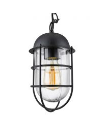 Kitron 1 Light Cage Ceiling Pendant - Black