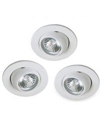 3 Pack of Circular Recessed Downlights - White