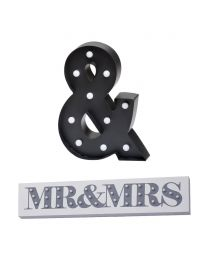 Mr & Mrs Wall Light - White and Ampersand LED Table Lamp - Black