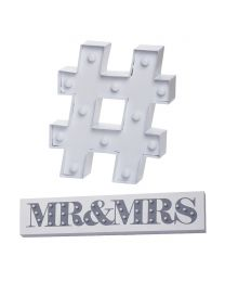 Mr & Mrs Wall Light - White and Hash LED Table Lamp - White