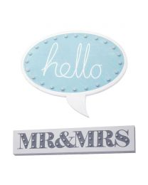 Mr & Mrs Wall Light - White and Hello Speech Bubble Wall Light - Blue