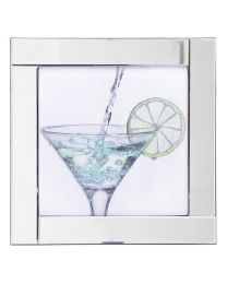 Square Mirror Picture Frame with Glittered Cocktail Glass Illustration - Silver