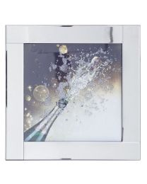 Square Mirror Picture Frame with Glittered Champagne Cork Pop Illustration - Silver
