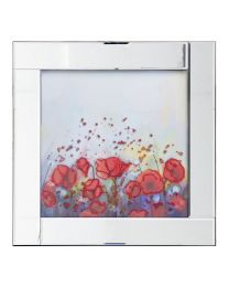 Square Mirror Picture Frame with Glittered Abstract Flowers Illustration - Silver