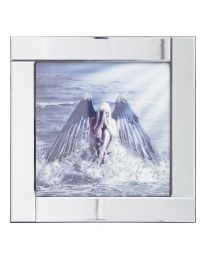 Square Mirror Picture Frame with Glittered Angel on Water Illustration - Silver