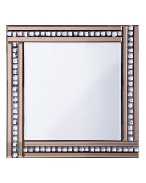 Triple Bar Square Mirror with Crystal Effect Glass - Bronze & Silver