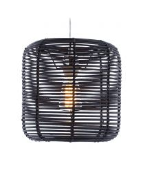 Rattan Drum Easy to Fit Shade Black Lit on White
