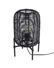 Rattan Style Table Lamp - Black