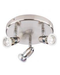 Ronja 3 Light Ceiling Spotlight Plate with LED Bulbs - Chrome