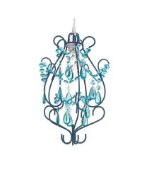 Flocked 1 Light Curved Easy to Fit Pendant Aqua