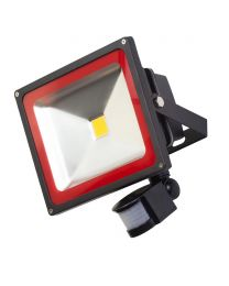 Outdoor 30 Watt LED Flood Light with PIR Security Sensor - Black