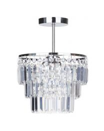 Vasca Crystal Bar Bathroom Chandelier Semi Flush - Chrome