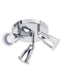 Taurus 3 Light Bathroom Ceiling Spotlight Plate - Chrome