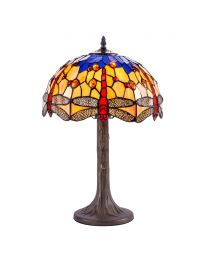 Tiffany by Tiff 1 Light 30cm Dragonfly Table Lamp - Antique Brass