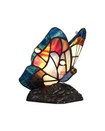 Tiffany by Tiff 1 Light Butterfly Table Lamp - Blue and Black