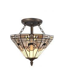 Tiffany by Tiff 2 Light 30cm Art Deco Semi Flush Ceiling Light - Antique Brass
