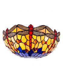 Tiffany by Tiff 2 Light Dragonfly Wall Light - Antique Brass