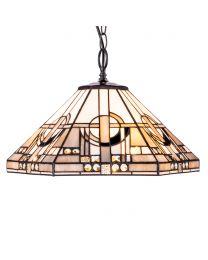 Tiffany by Tiff 3 Light 40cm Art Deco Ceiling Pendant - Antique Brass