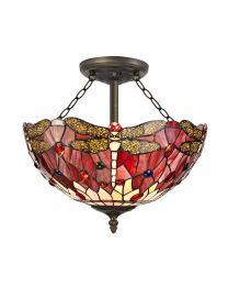 Tiffany by Tiff 3 Light 40cm Dragonfly Semi Flush Ceiling Light - Red and Antique Brass