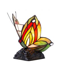 Tiffany by Tiff 1 Light Butterfly Table Lamp - Red and Black