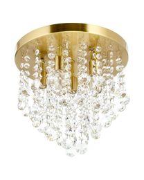 Turin 6 Light Semi Flush Circular Bathroom Ceiling Light - Satin Brass