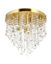 Turin 9 Light Semi Flush Circular Bathroom Ceiling Light - Satin Brass