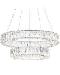 Visconte Crystal Double Hoop LED Prism Bar Ceiling Pendant - Chrome & Glass