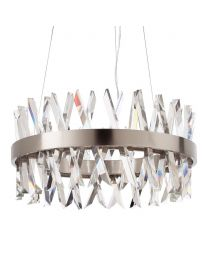 Visconte Flusso Large Round Adjustable Ceiling Pendant Light - Satin Nickel