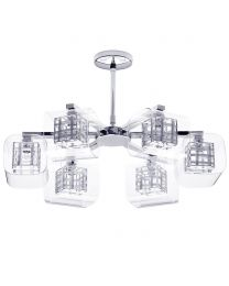 Visconte Lille 6 Light Lattice Cube Flush Ceiling Light with Glass Shades - Chrome