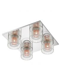Visconte Dijon 4 Light Flush Ceiling Light with Copper Mesh and Glass Shades - Chrome