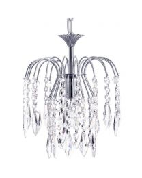 Visconte Bath Small 1 Light Ceiling Pendant with Crystal Droplets - Nickel