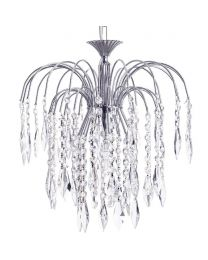 Visconte Bath Large 1 Light Ceiling Pendant with Crystal Droplets - Nickel