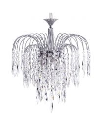 Visconte Bath 3 Light Ceiling Pendant with Crystal Droplets - Nickel