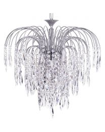 Visconte Bath 6 Light Ceiling Pendant with Crystal Droplets - Nickel