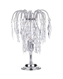 Visconte Bath 1 Light Table Lamp with Crystal Droplets - Nickel