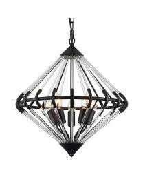 Corsica 5 Light Glass Rod Ceiling Pendant - Black