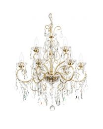 Vara 9 Light Bathroom Chandelier - Satin Brass close up