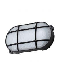 Vega 15 Watt LED Oval Grid Outdoor Bulkhead Light - Black